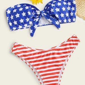 RUBY American flag print knot bandeau bikini